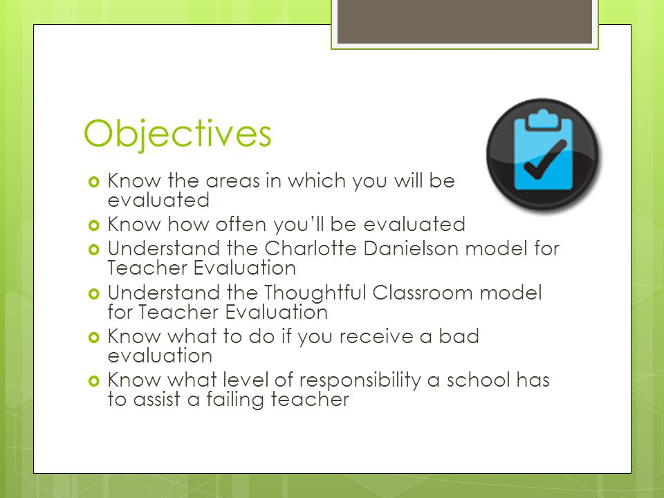 The Thoughtful Classroom  10 areas to be evaluated: 1.