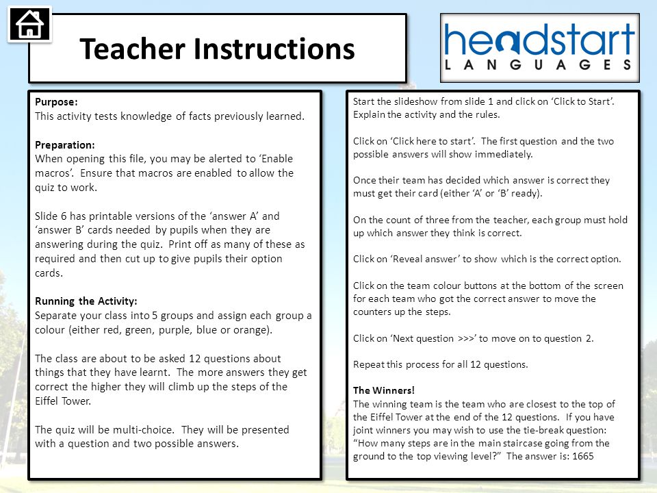 Teacher Instructions Purpose: This activity tests knowledge of facts previously learned.