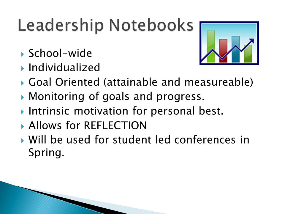 School-wide  Individualized  Goal Oriented (attainable and measureable)  Monitoring of goals and progress.