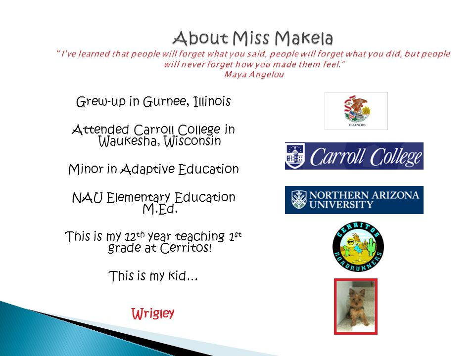 Grew-up in Gurnee, Illinois Attended Carroll College in Waukesha, Wisconsin Minor in Adaptive Education NAU Elementary Education M.Ed.
