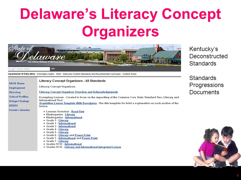 Delaware's Literacy Concept Organizers 9 Kentucky's Deconstructed Standards Standards Progressions Documents