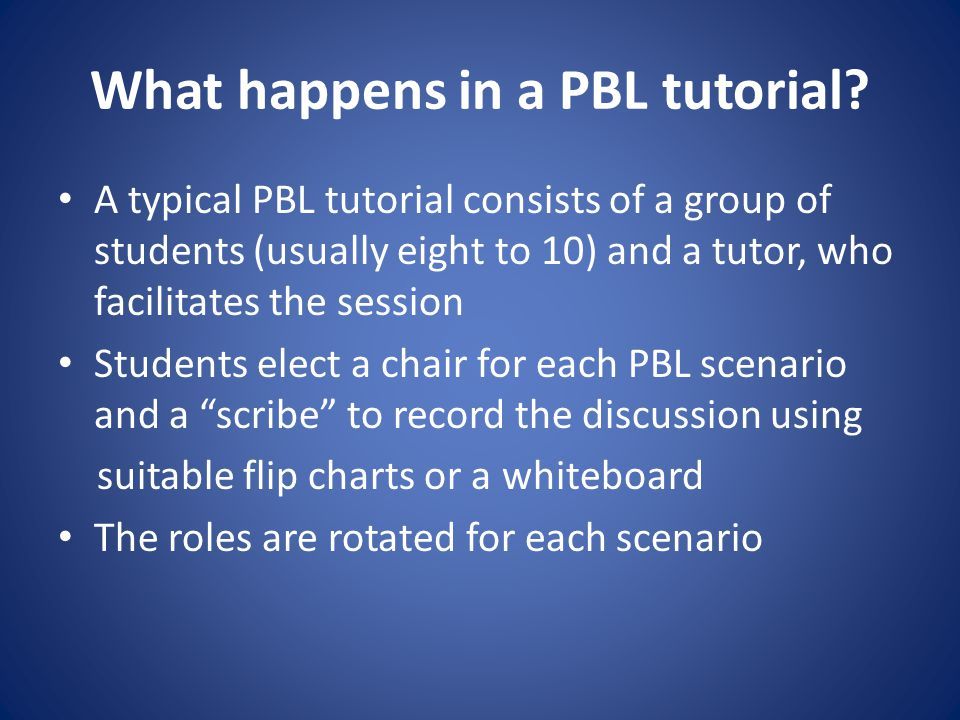 What happens in a PBL tutorial.