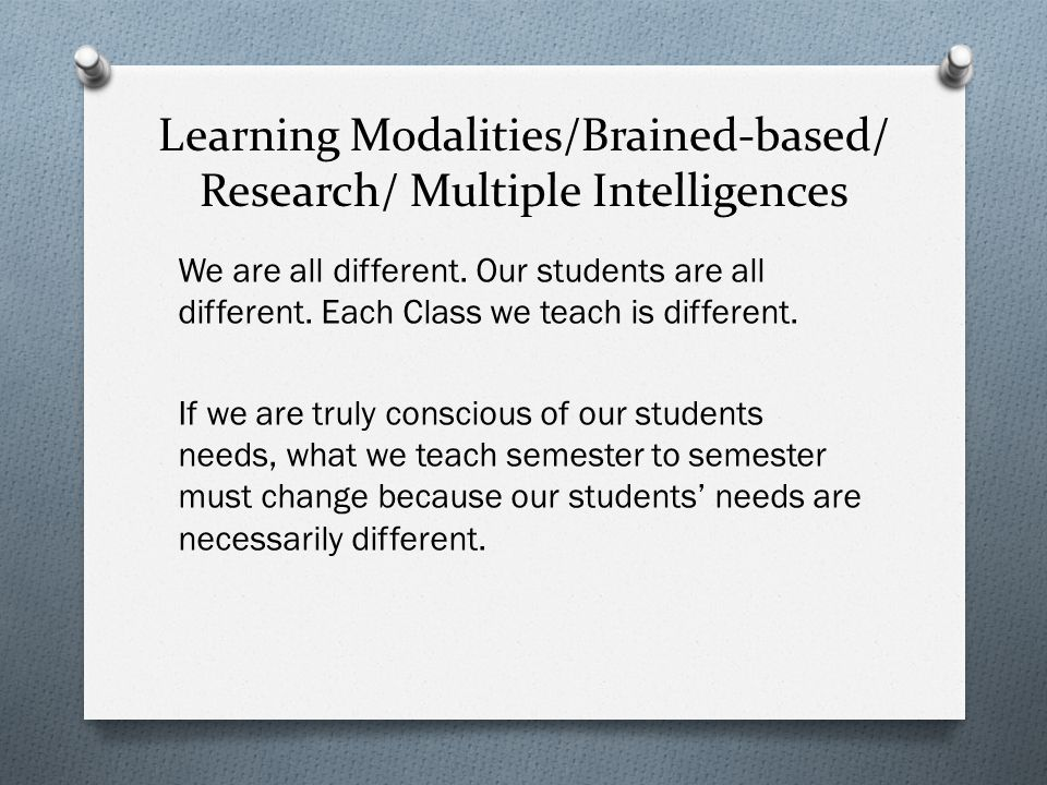 Learning Modalities/Brained-based/ Research/ Multiple Intelligences We are all different.