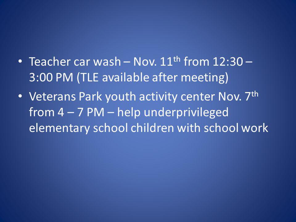 Teacher car wash – Nov.