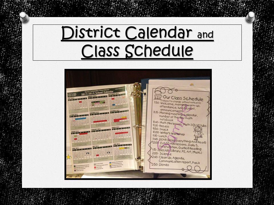 District Calendar and Class Schedule