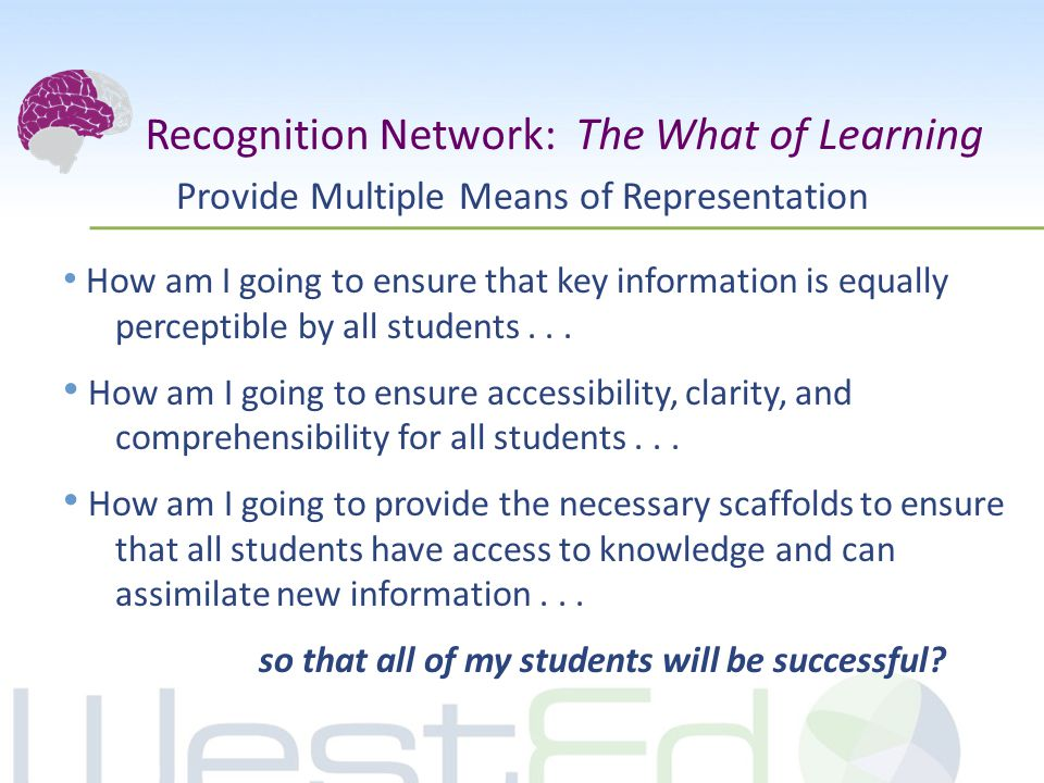 Provide Multiple Means of Representation How am I going to ensure that key information is equally perceptible by all students...