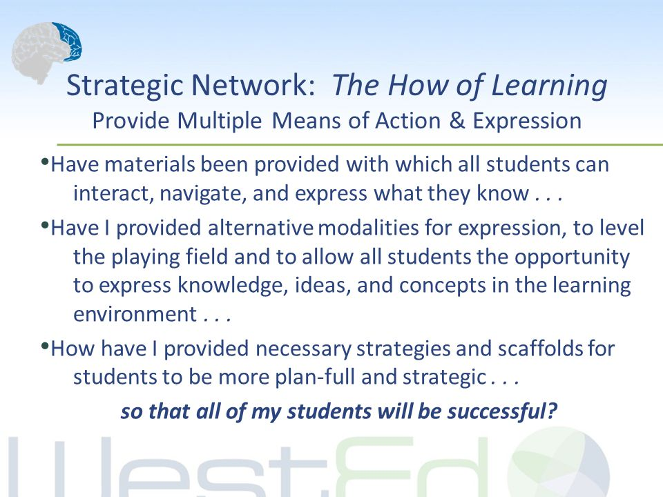 Strategic Network: The How of Learning Provide Multiple Means of Action & Expression Have materials been provided with which all students can interact
