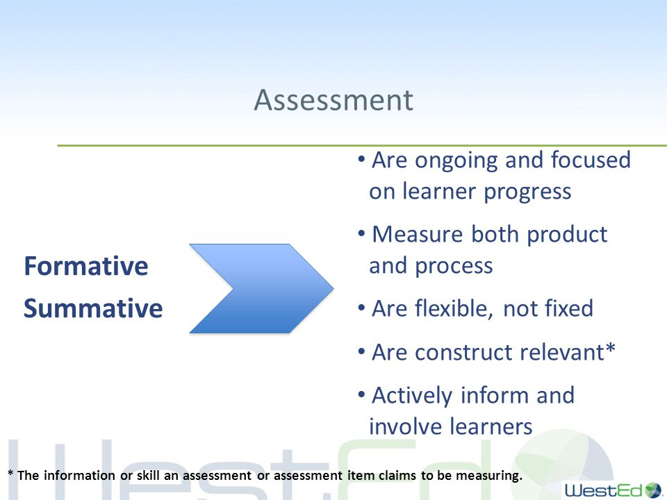 Assessment Formative Summative Are ongoing and focused on learner progress Measure both product and process Are flexible, not fixed Are construct relevant* Actively inform and involve learners * The information or skill an assessment or assessment item claims to be measuring.