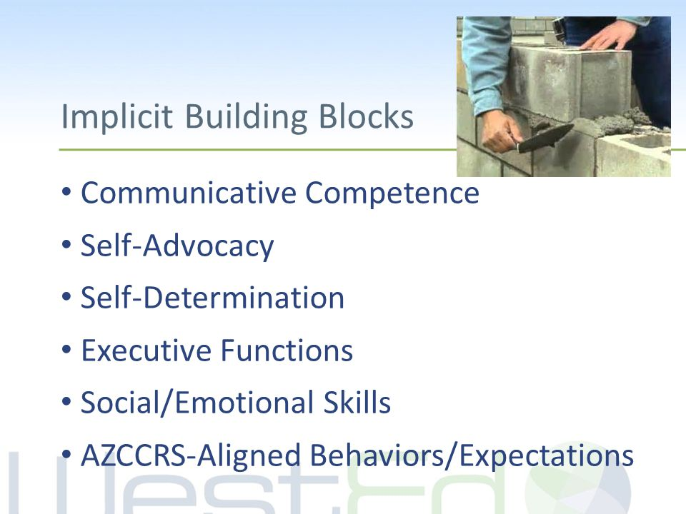 Implicit Building Blocks Communicative Competence Self-Advocacy Self-Determination Executive Functions Social/Emotional Skills AZCCRS-Aligned Behaviors/Expectations