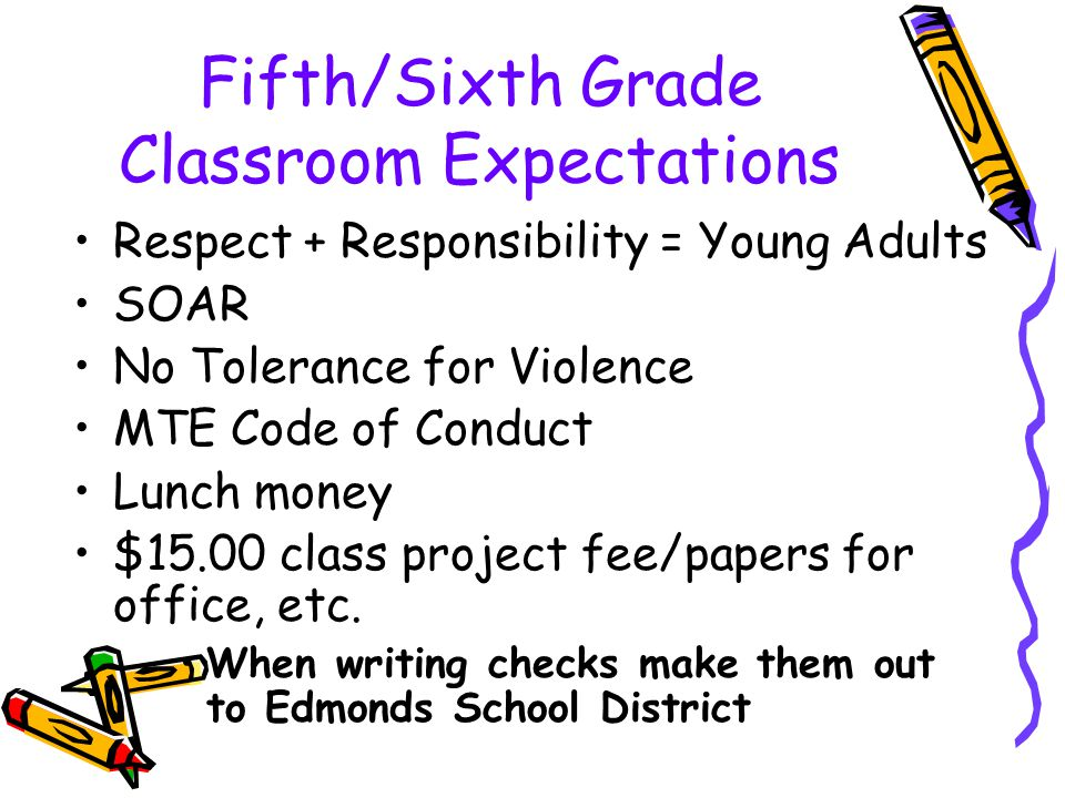 Fifth/Sixth Grade Classroom Expectations Respect + Responsibility = Young Adults SOAR No Tolerance for Violence MTE Code of Conduct Lunch money $15.00 class project fee/papers for office, etc.