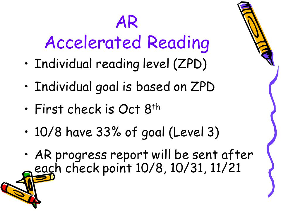AR Accelerated Reading Individual reading level (ZPD) Individual goal is based on ZPD First check is Oct 8 th 10/8 have 33% of goal (Level 3) AR progr