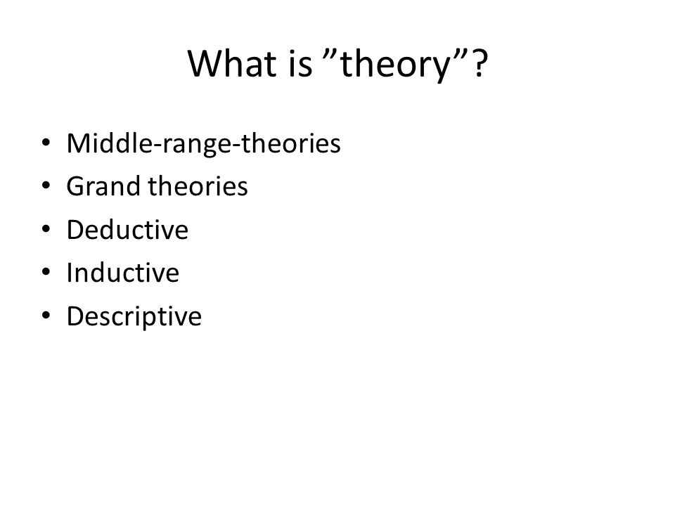 "What is ""theory""? Middle-range-theories Grand theories Deductive Inductive Descriptive"