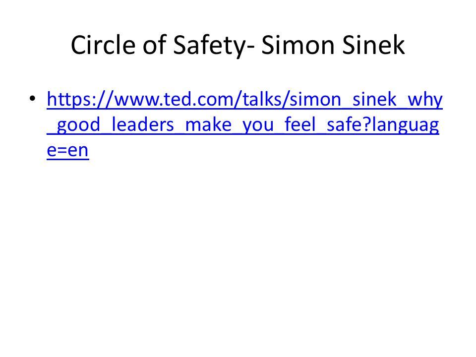 Circle of Safety- Simon Sinek https://www.ted.com/talks/simon_sinek_why _good_leaders_make_you_feel_safe?languag e=en https://www.ted.com/talks/simon_sinek_why _good_leaders_make_you_feel_safe?languag e=en