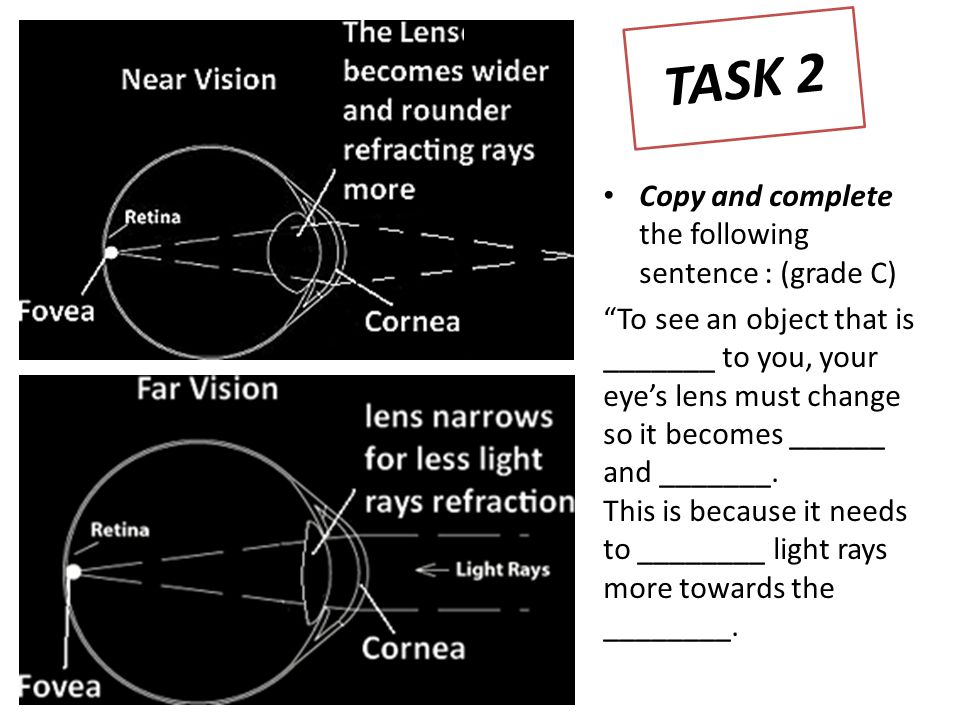 Copy and complete the following sentence : (grade C) To see an object that is _______ to you, your eye's lens must change so it becomes ______ and _______.