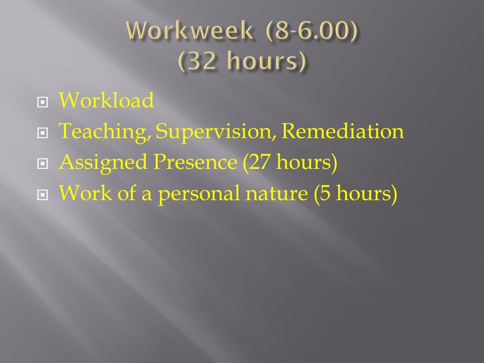 Workload  Teaching, Supervision, Remediation  Assigned Presence (27 hours)  Work of a personal nature (5 hours)
