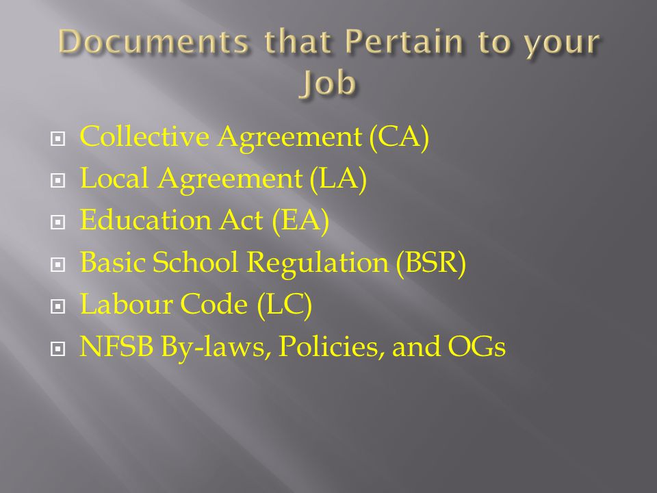  Collective Agreement (CA)  Local Agreement (LA)  Education Act (EA)  Basic School Regulation (BSR)  Labour Code (LC)  NFSB By-laws, Policies, and OGs