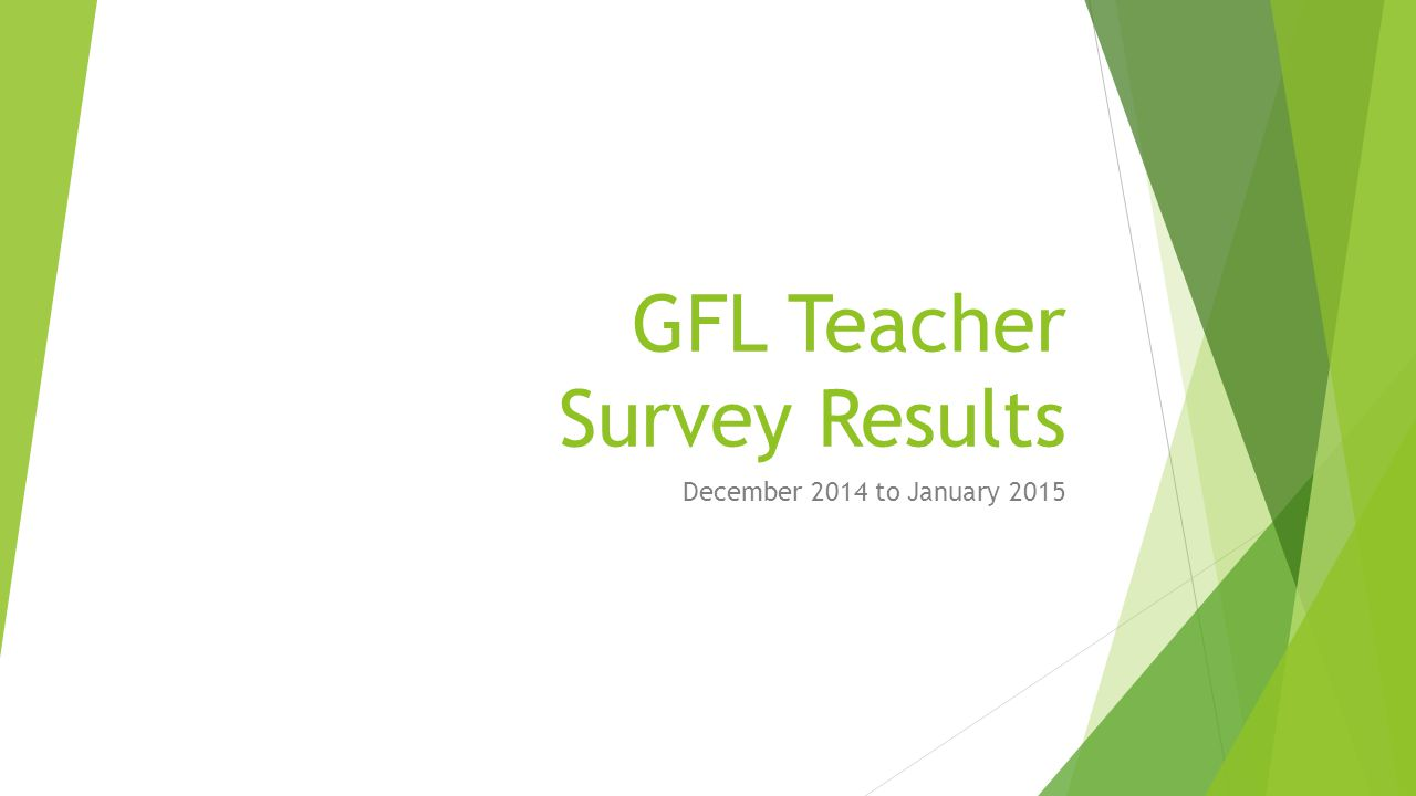 GFL Teacher Survey Results December 2014 to January 2015