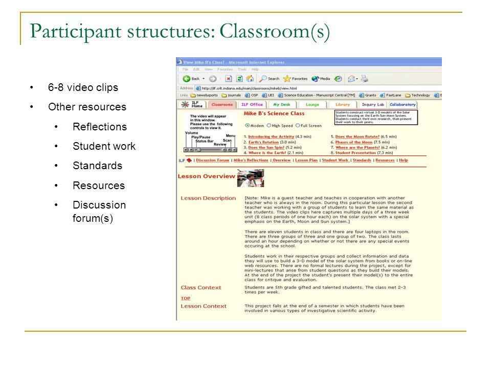 Participant structures: Classroom(s) 6-8 video clips Other resources Reflections Student work Standards Resources Discussion forum(s)