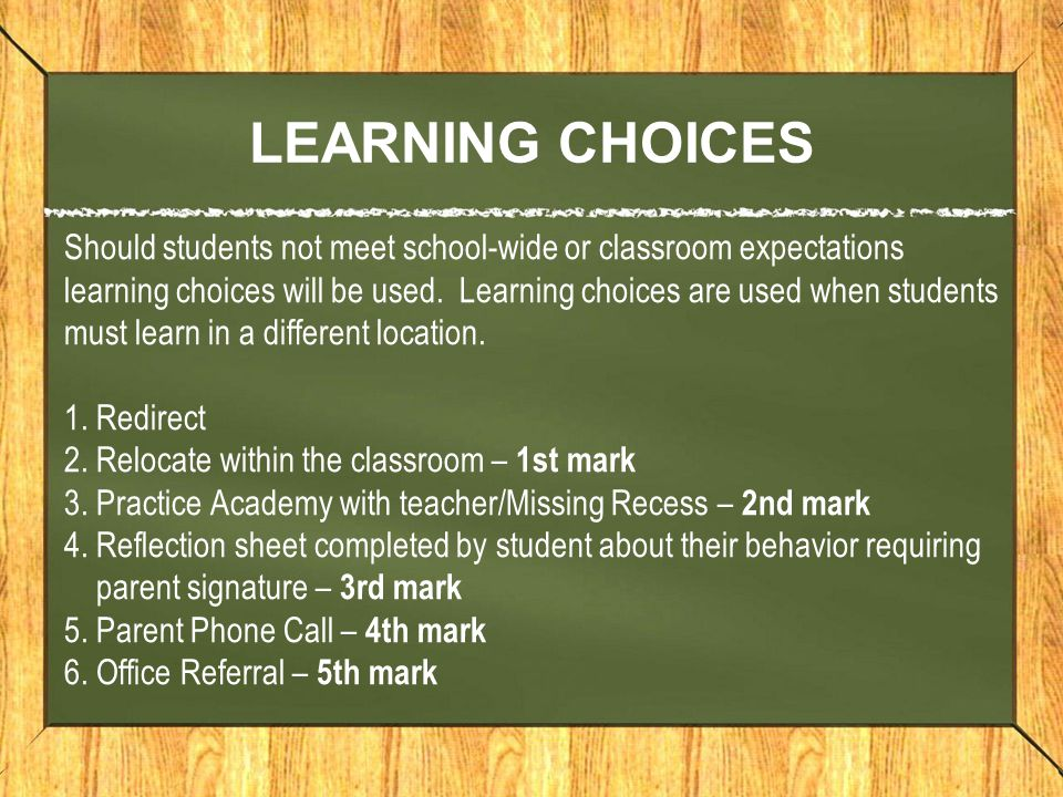 LEARNING CHOICES Should students not meet school-wide or classroom expectations learning choices will be used.