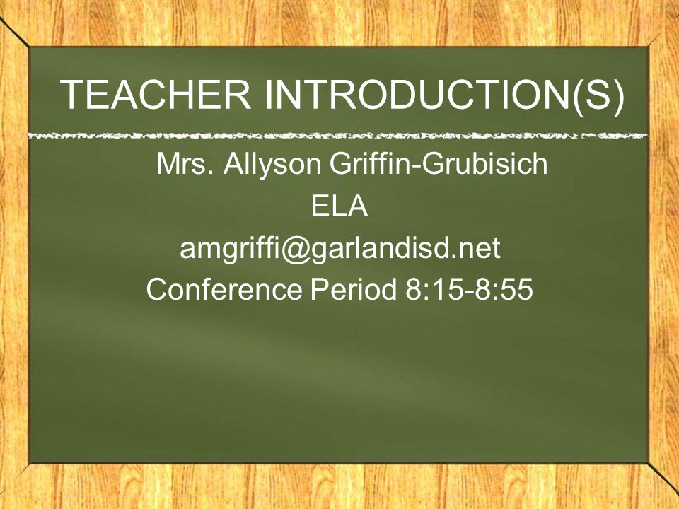 TEACHER INTRODUCTION(S) Mrs.
