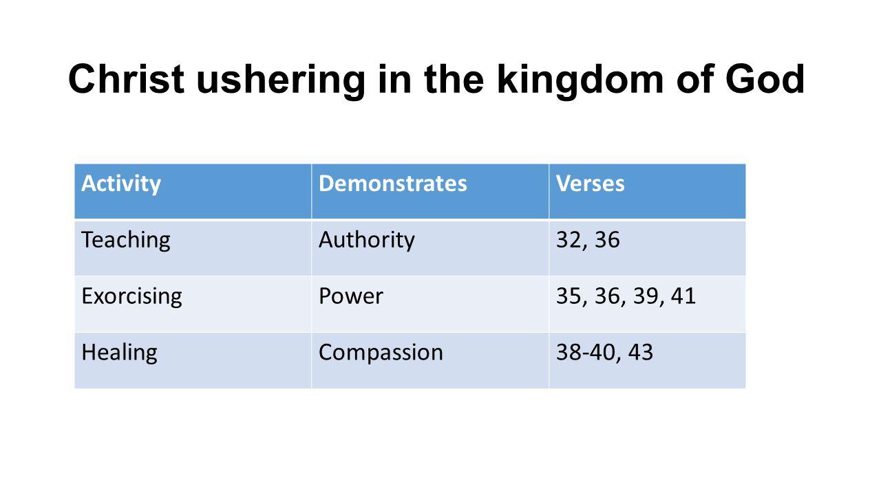 Christ ushering in the kingdom of God ActivityDemonstratesVerses TeachingAuthority32, 36 ExorcisingPower35, 36, 39, 41 HealingCompassion38-40, 43