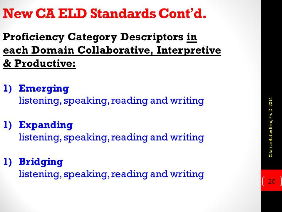 New CA ELD Standards Cont'd. Proficiency Category Descriptors in each Domain Collaborative, Interpretive & Productive: 1)Emerging listening, speaking,