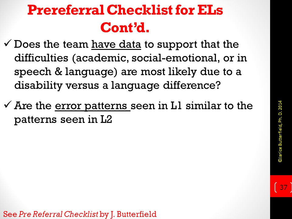 Prereferral Checklist for ELs Cont'd.