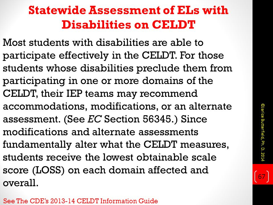 Most students with disabilities are able to participate effectively in the CELDT.