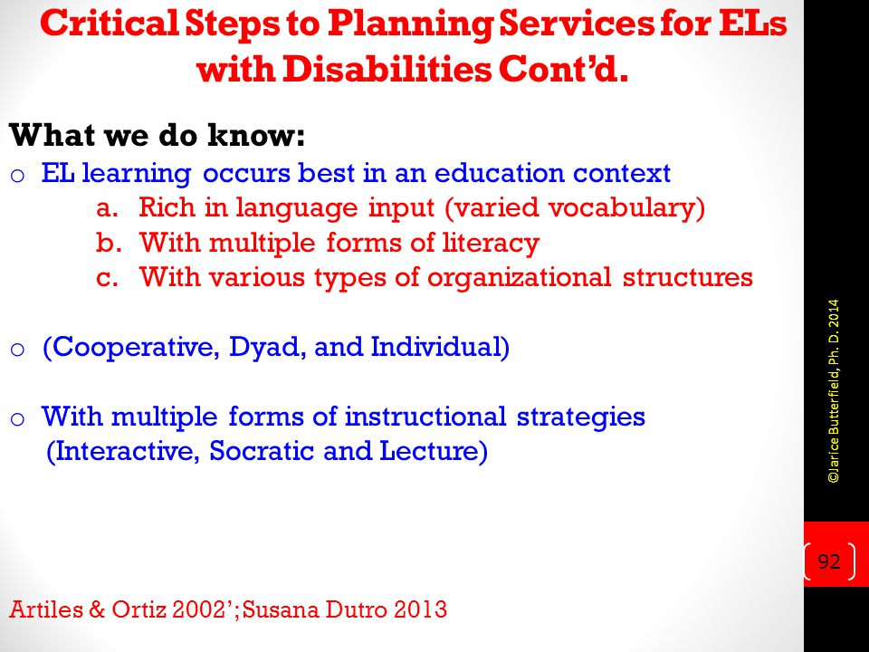 Critical Steps to Planning Services for ELs with Disabilities Cont'd.