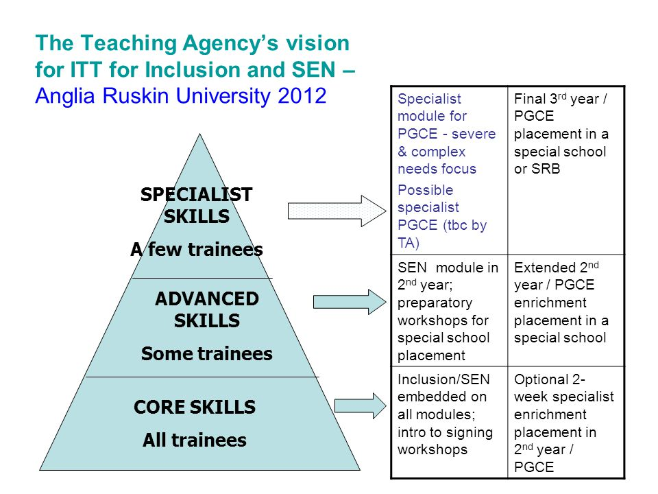 The Teaching Agency's vision for ITT for Inclusion and SEN – Anglia Ruskin University 2012 CORE SKILLS All trainees ADVANCED SKILLS Some trainees SPECIALIST SKILLS A few trainees Specialist module for PGCE - severe & complex needs focus Possible specialist PGCE (tbc by TA) Final 3 rd year / PGCE placement in a special school or SRB SEN module in 2 nd year; preparatory workshops for special school placement Extended 2 nd year / PGCE enrichment placement in a special school Inclusion/SEN embedded on all modules; intro to signing workshops Optional 2- week specialist enrichment placement in 2 nd year / PGCE