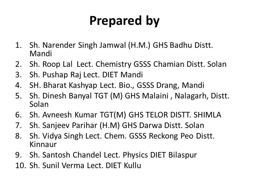 Prepared by 1.Sh. Narender Singh Jamwal (H.M.) GHS Badhu Distt. Mandi 2.Sh. Roop Lal Lect. Chemistry GSSS Chamian Distt. Solan 3.Sh. Pushap Raj Lect.