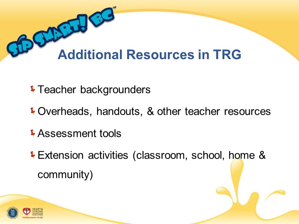 Additional Resources in TRG  Teacher backgrounders  Overheads, handouts, & other teacher resources  Assessment tools  Extension activities (classroom, school, home & community)