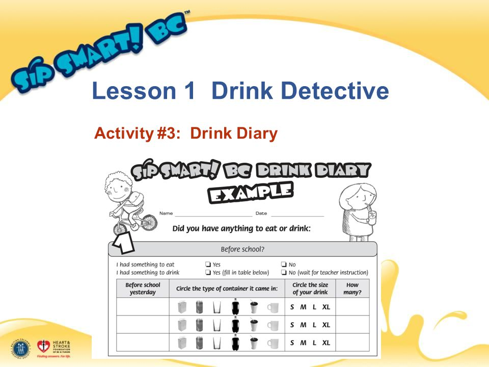 Lesson 1 Drink Detective Activity #3: Drink Diary