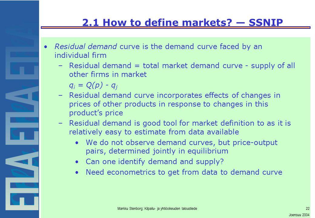 Markku Stenborg: Kilpailu- ja yhtiöoikeuden taloustiede22 Joensuu 2004 2.1 How to define markets? — SSNIP Residual demand curve is the demand curve fa