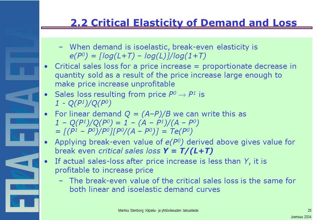 Markku Stenborg: Kilpailu- ja yhtiöoikeuden taloustiede25 Joensuu 2004 2.2 Critical Elasticity of Demand and Loss –When demand is isoelastic, break-ev