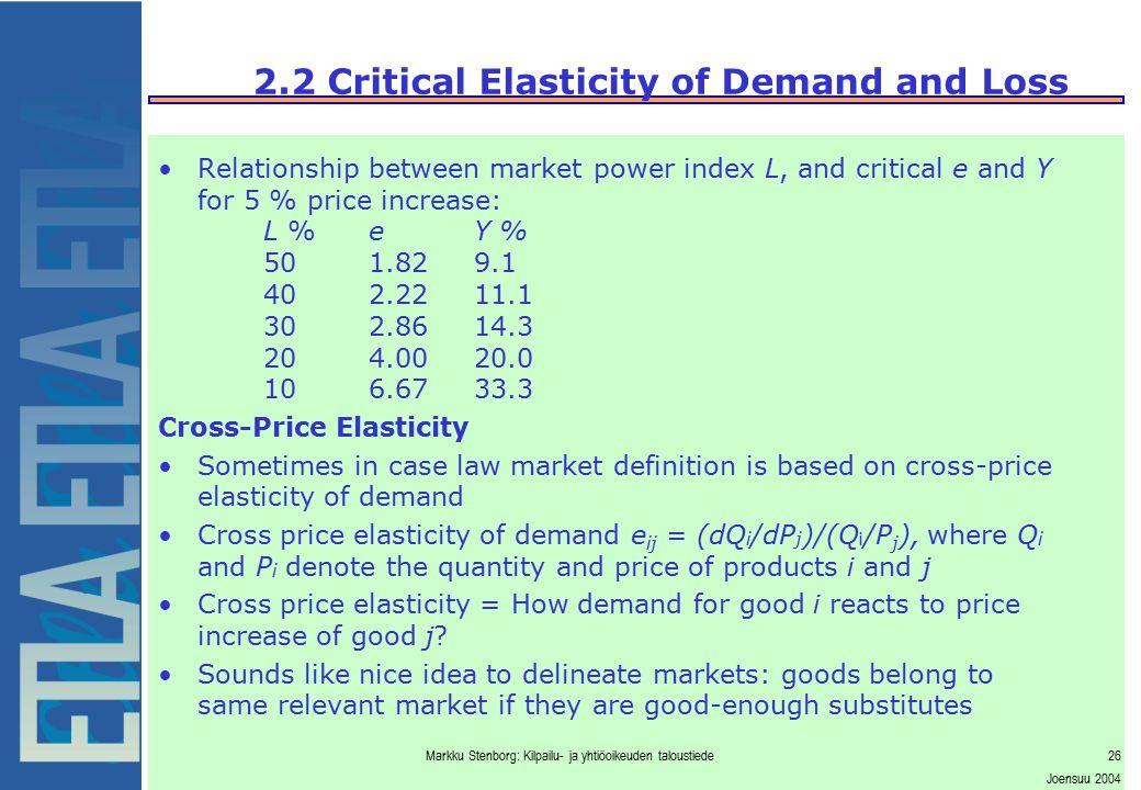 Markku Stenborg: Kilpailu- ja yhtiöoikeuden taloustiede26 Joensuu 2004 2.2 Critical Elasticity of Demand and Loss Relationship between market power in