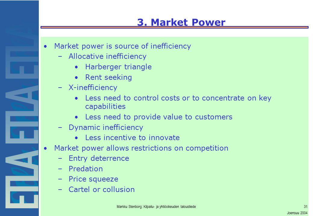 Markku Stenborg: Kilpailu- ja yhtiöoikeuden taloustiede31 Joensuu 2004 3. Market Power Market power is source of inefficiency –Allocative inefficiency