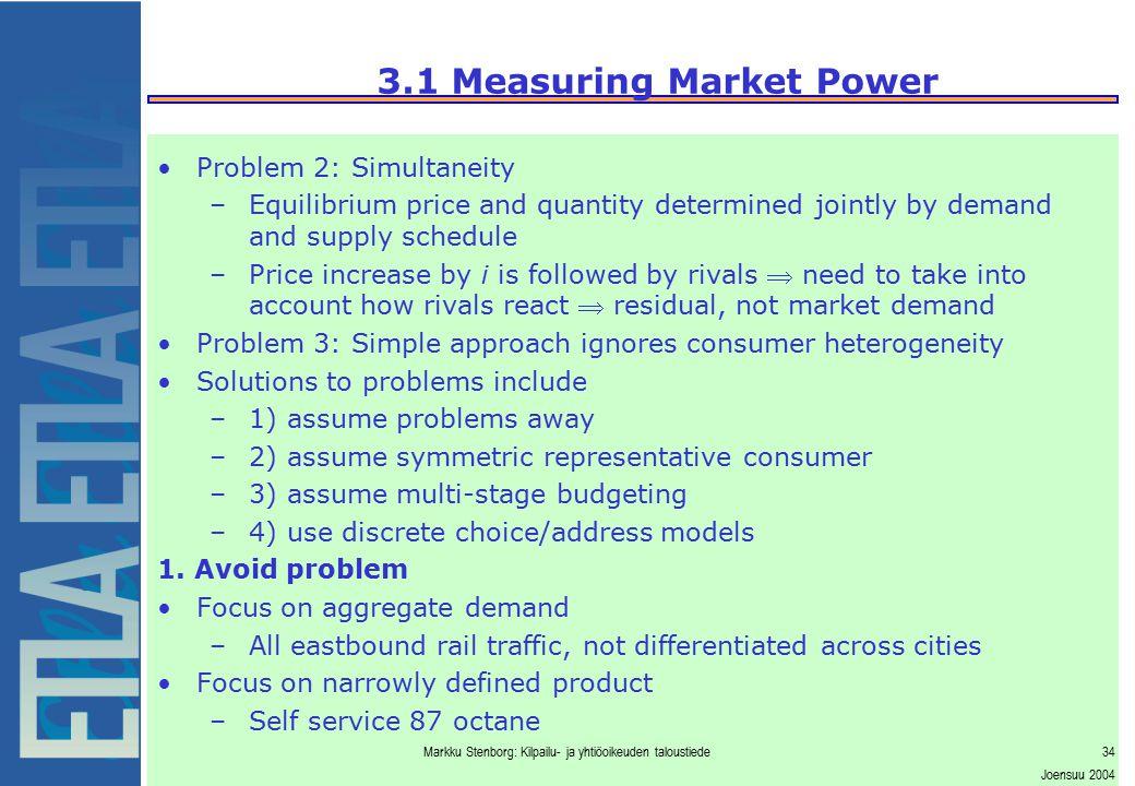 Markku Stenborg: Kilpailu- ja yhtiöoikeuden taloustiede34 Joensuu 2004 3.1 Measuring Market Power Problem 2: Simultaneity –Equilibrium price and quant