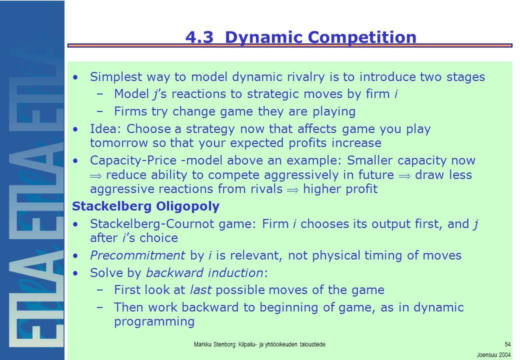 Markku Stenborg: Kilpailu- ja yhtiöoikeuden taloustiede54 Joensuu 2004 4.3 Dynamic Competition Simplest way to model dynamic rivalry is to introduce t