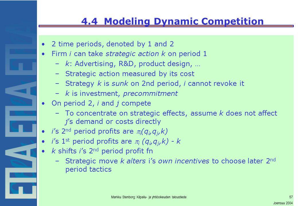 Markku Stenborg: Kilpailu- ja yhtiöoikeuden taloustiede57 Joensuu 2004 4.4 Modeling Dynamic Competition 2 time periods, denoted by 1 and 2 Firm i can