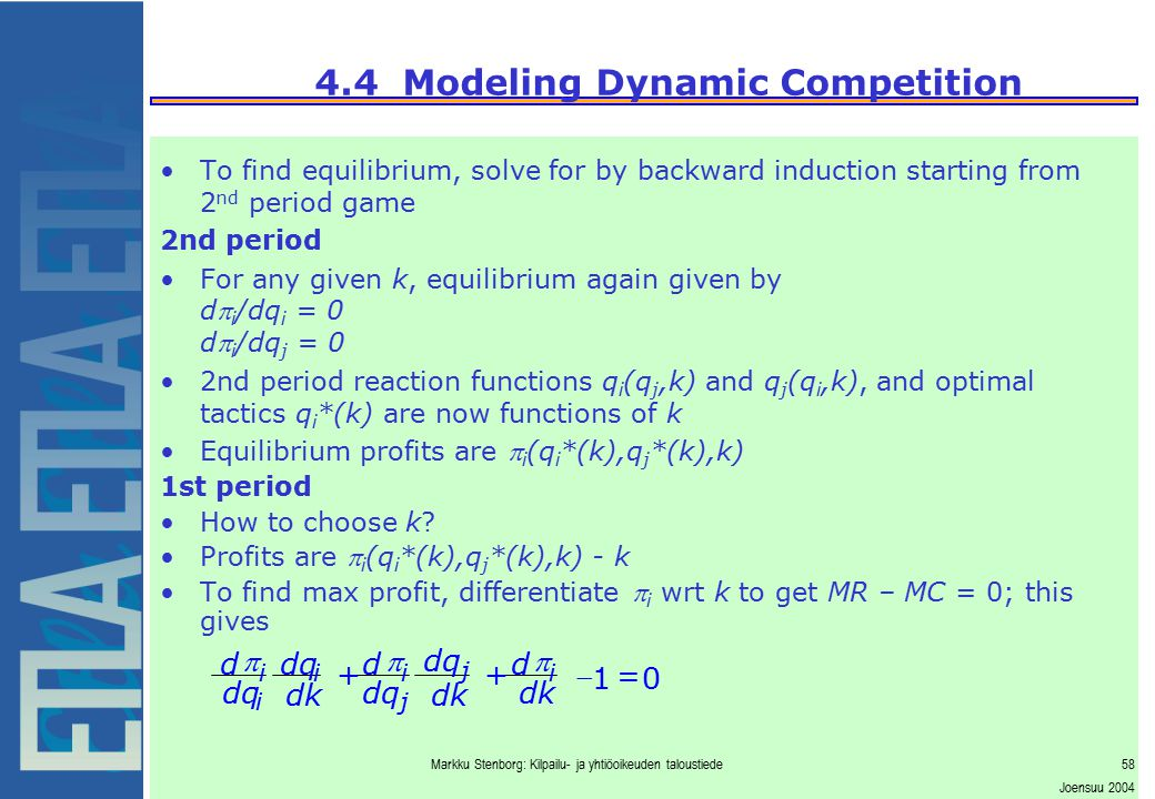 Markku Stenborg: Kilpailu- ja yhtiöoikeuden taloustiede58 Joensuu 2004 4.4 Modeling Dynamic Competition To find equilibrium, solve for by backward ind