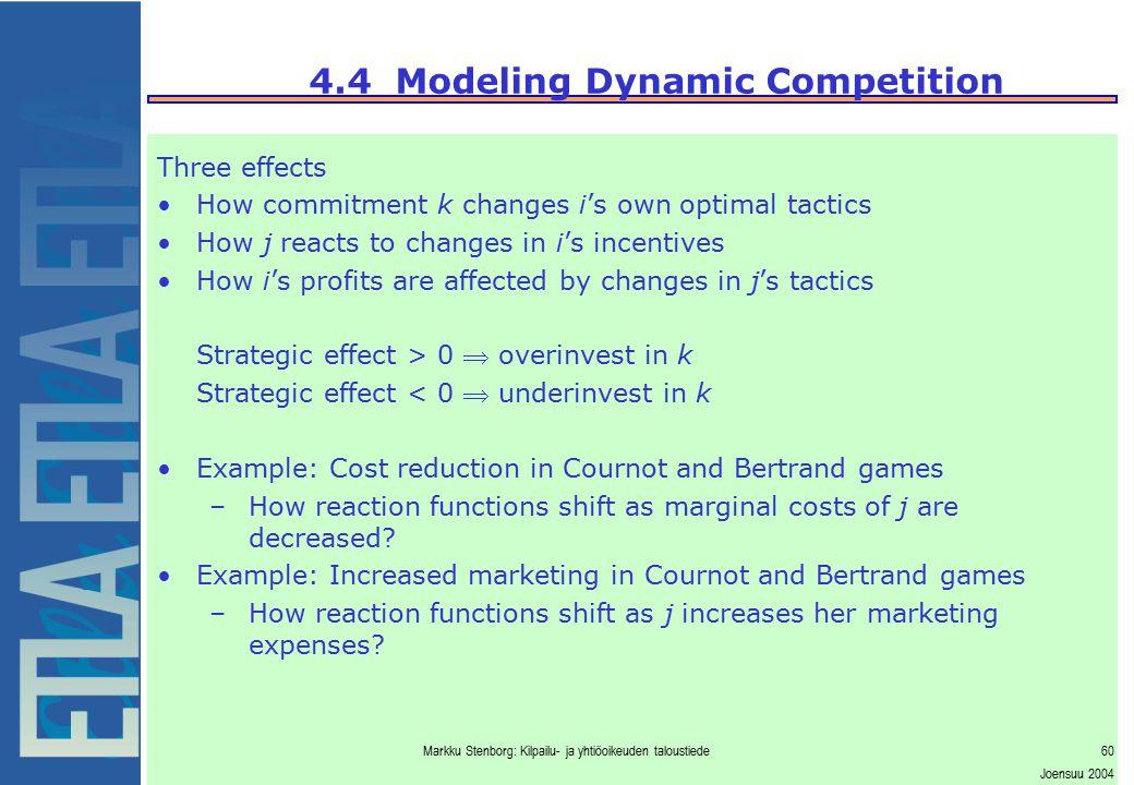 Markku Stenborg: Kilpailu- ja yhtiöoikeuden taloustiede60 Joensuu 2004 4.4 Modeling Dynamic Competition Three effects How commitment k changes i's own