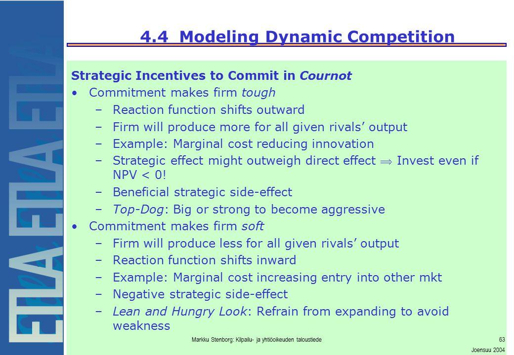 Markku Stenborg: Kilpailu- ja yhtiöoikeuden taloustiede63 Joensuu 2004 4.4 Modeling Dynamic Competition Strategic Incentives to Commit in Cournot Comm