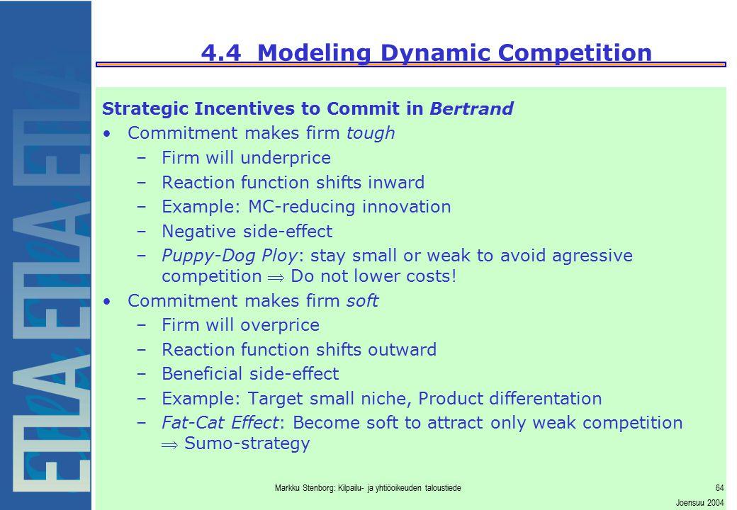 Markku Stenborg: Kilpailu- ja yhtiöoikeuden taloustiede64 Joensuu 2004 4.4 Modeling Dynamic Competition Strategic Incentives to Commit in Bertrand Com
