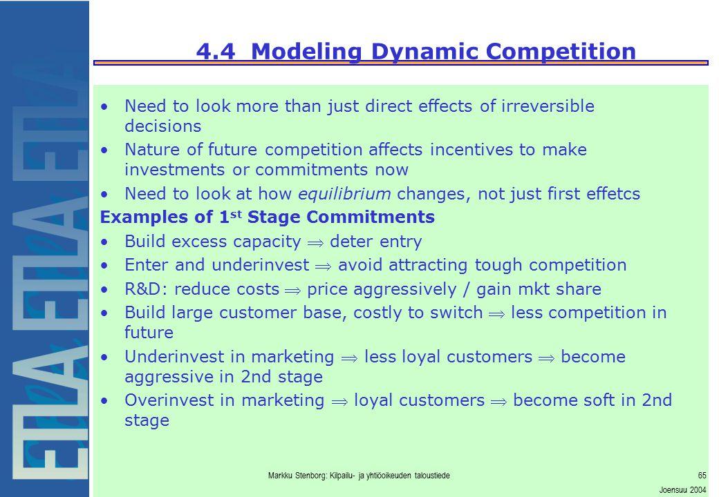 Markku Stenborg: Kilpailu- ja yhtiöoikeuden taloustiede65 Joensuu 2004 4.4 Modeling Dynamic Competition Need to look more than just direct effects of