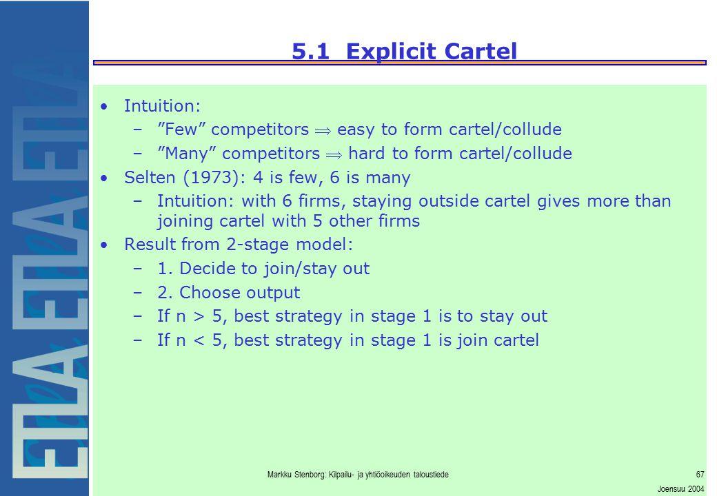 """Markku Stenborg: Kilpailu- ja yhtiöoikeuden taloustiede67 Joensuu 2004 5.1 Explicit Cartel Intuition: –""""Few"""" competitors  easy to form cartel/collude"""