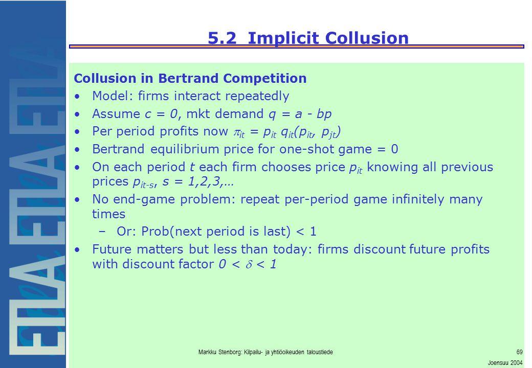 Markku Stenborg: Kilpailu- ja yhtiöoikeuden taloustiede69 Joensuu 2004 5.2 Implicit Collusion Collusion in Bertrand Competition Model: firms interact