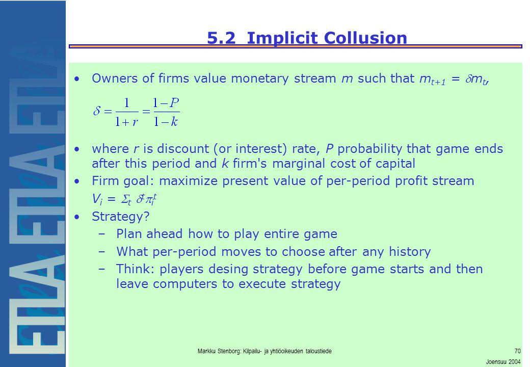 Markku Stenborg: Kilpailu- ja yhtiöoikeuden taloustiede70 Joensuu 2004 5.2 Implicit Collusion Owners of firms value monetary stream m such that m t+1