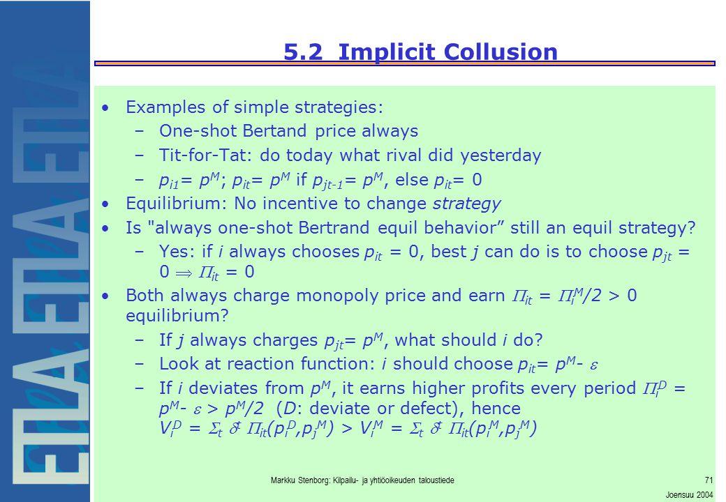 Markku Stenborg: Kilpailu- ja yhtiöoikeuden taloustiede71 Joensuu 2004 5.2 Implicit Collusion Examples of simple strategies: –One-shot Bertand price a