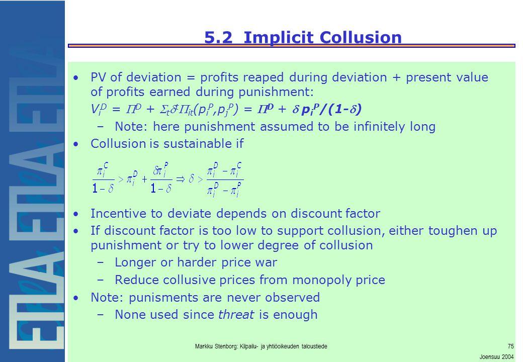Markku Stenborg: Kilpailu- ja yhtiöoikeuden taloustiede75 Joensuu 2004 5.2 Implicit Collusion PV of deviation = profits reaped during deviation + pres